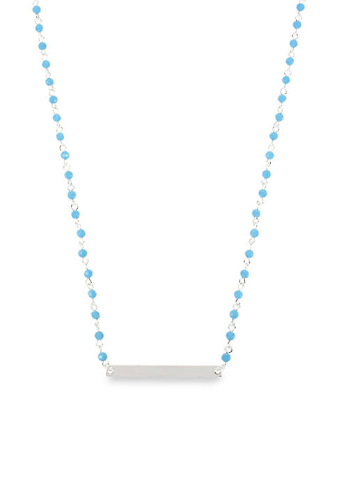 Silver-Tone Turquoise Faceted Bead & Silver-Tone Bar Frontal Necklace