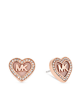 Rose Gold- Tone 'MK' Heart Pave Crystal Halo Stud Earrings