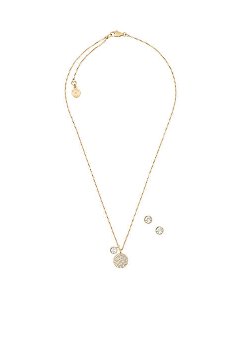 Gold-Tone Dome Pendant Necklace and Stud Earrings Set