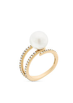 Michael Kors Modern Classic Pearl Gold-Tone Pave Crystal and White Pearl Open Ring