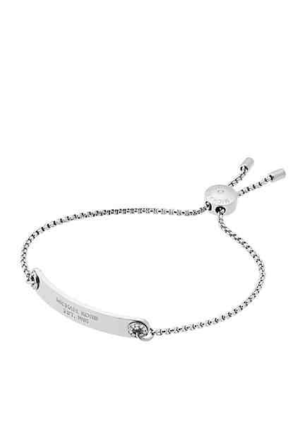 Michael Kors Silver Tone Pave Logo Plaque Slider Bracelet