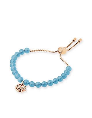 2a7913e45d8ce Rose Gold-Tone Watch Alignment, Crystal, and Blue Stone Acetate Slider  Bracelet