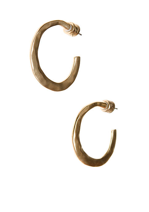 Kenneth Cole Gold-Tone Hammered Hoop Earrings