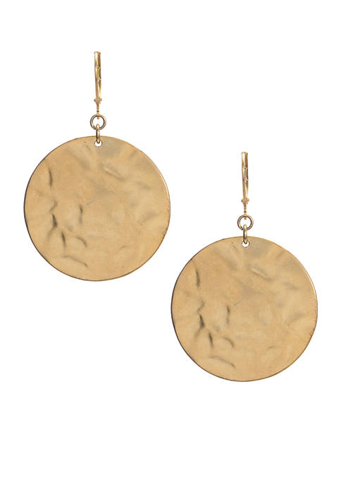 Kenneth Cole Gold-Tone Hammered Drop Earrings