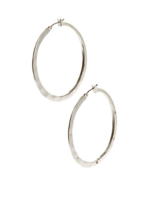 Kenneth Cole Silver-Tone Hammered Hoop Earrings