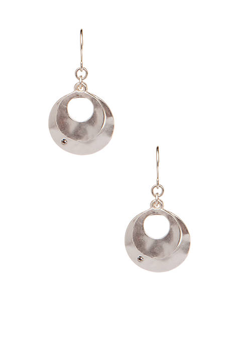 Kenneth Cole Hammered Layered Drop Earrings