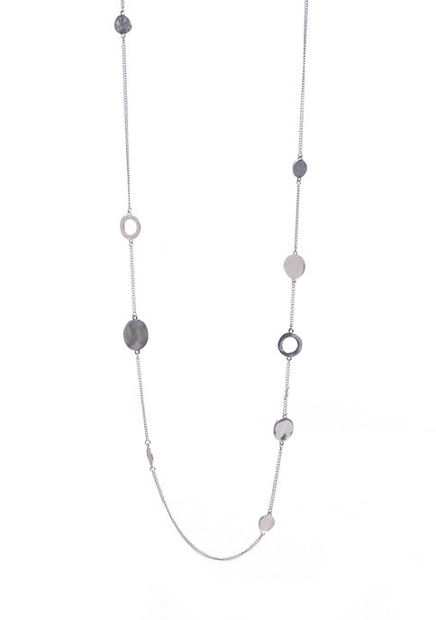 Silver-Tone Circle Long Necklace
