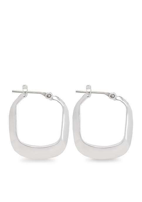 Kenneth Cole Small Silver-Tone Rectangle Hoop Earrings