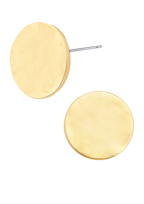 Small Gold-Tone Hammered Stud Earrings