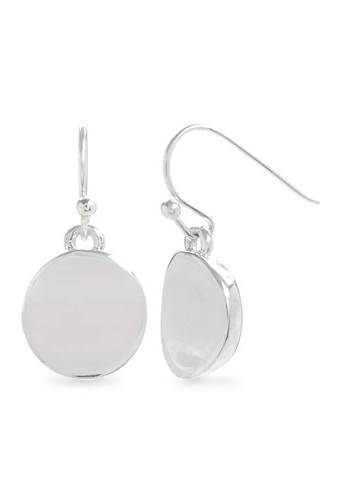 Kenneth Cole Silver Small Circle Drop Earrings