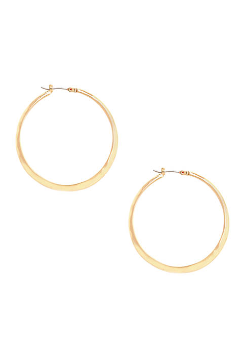 Kenneth Cole Gold-Tone Textured Hoop Earrings
