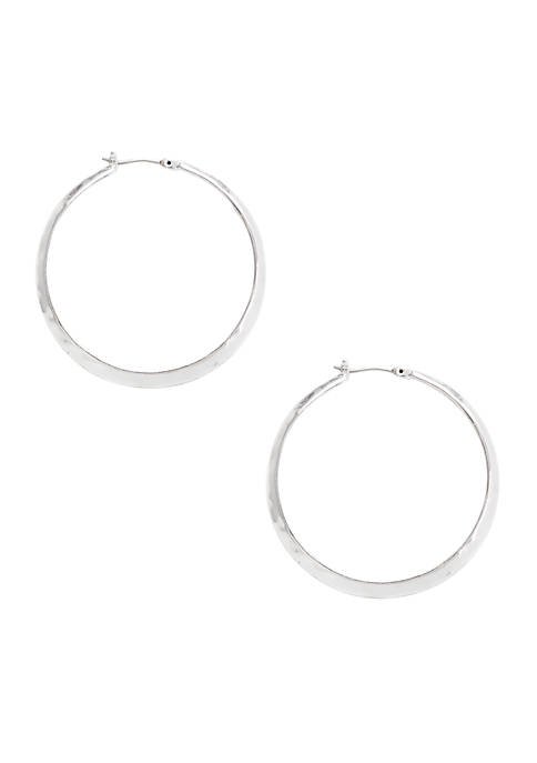 Kenneth Cole Silver Textured Hoop Earrings