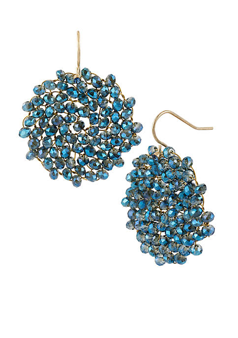 Kenneth Cole Woven Faceted Bead Round Drop Earrings