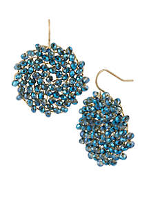 Woven Faceted Bead Round Drop Earrings