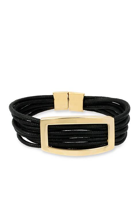Rectangle Black Multi Row Bracelet