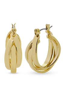 Gold-Tone Twisted Hoop Earring