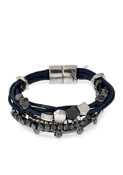 Kenneth Cole Silver-Tone with Blue Mixed Bead Multistrand
