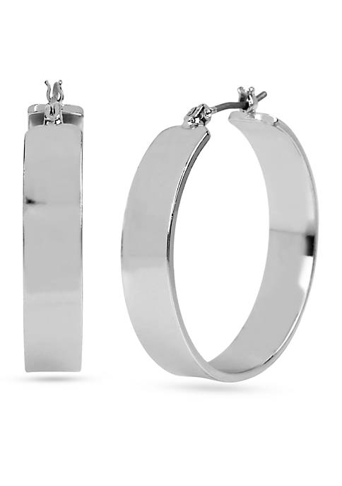 Kenneth Cole Shiny Silver Wide Hoop Earrings