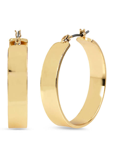 Kenneth Cole Wide Hoop Gold Tone Earring