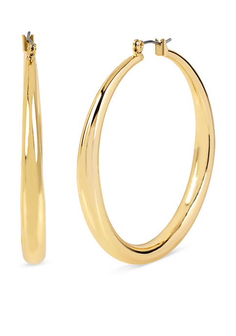 Kenneth Cole Shiny Gold Thick Hoop Earrings