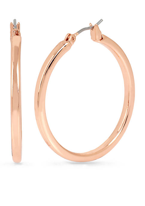 Kenneth Cole Rose Gold-Tone Medium Hoop Earrings