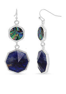 Kenneth Cole Silver-Tone Mixed Geometric Semiprecious Stone Double Drop Earrings