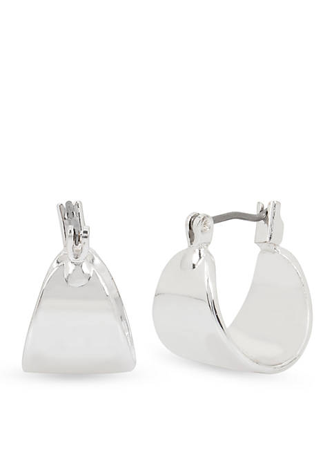 Kenneth Cole Silver-Tone Silver Huggie Earrings