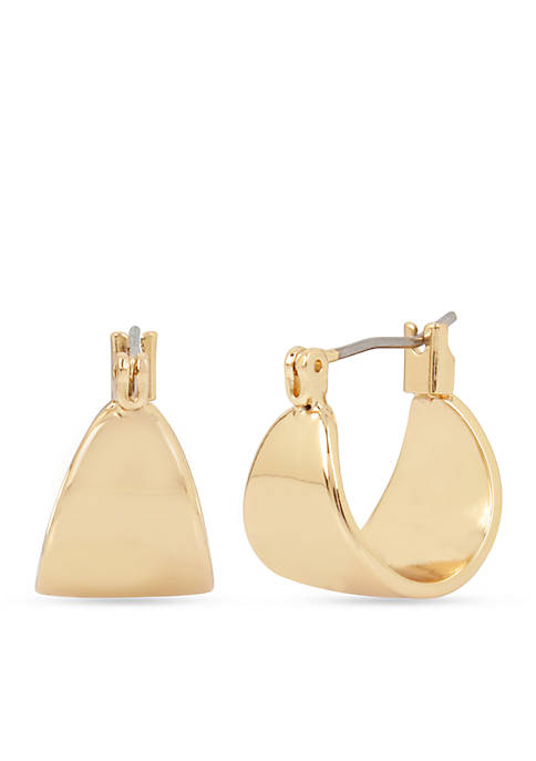 Kenneth Cole Gold-Tone Huggie Hoop Earrings