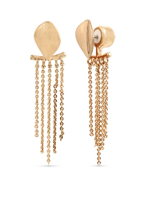 Kenneth Cole Gold-Tone Textured Linear Earrings