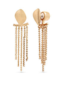 Gold-Tone Textured Linear Earrings