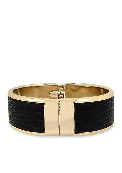 Gold-Tone Snake Print Cuff Bracelet