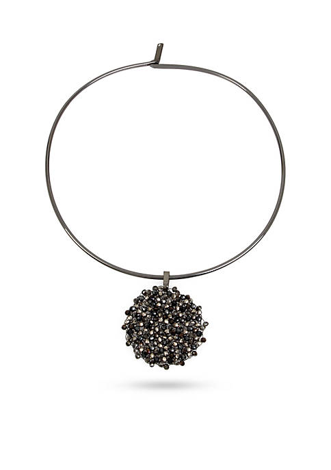 Kenneth Cole Hematite Collar Necklace with Black and