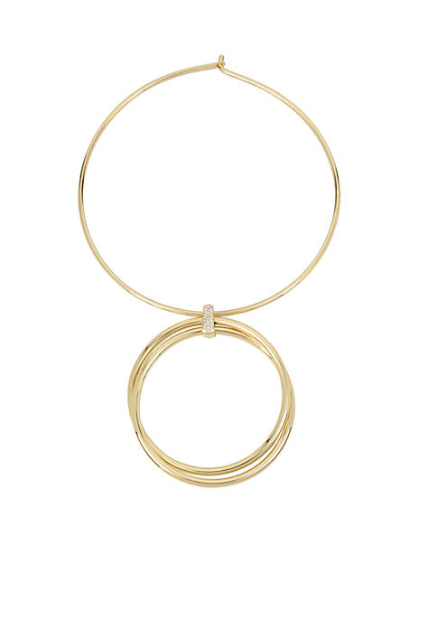 Kenneth Cole Gold-Tone Double Circle Pendant Necklace