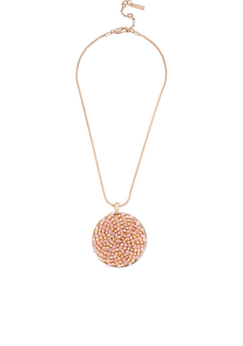 Kenneth Cole Rose Gold-Tone Blush Woven Beaded Pendant