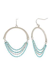 Silver-Tone Aqua Chain Gypsy Hoop Earrings