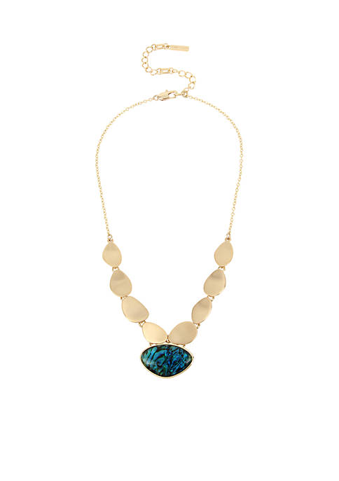 Kenneth Cole Gold-Tone Abalone and Gold Frontal Necklace