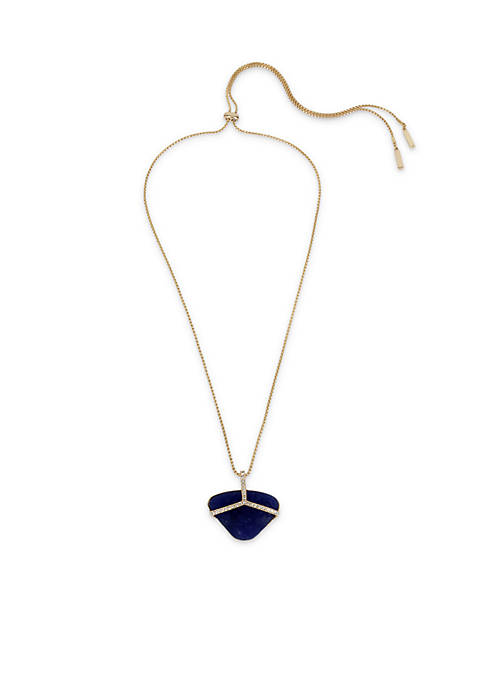 Gold Tone Kenneth Cole Blue Stone and Crystal