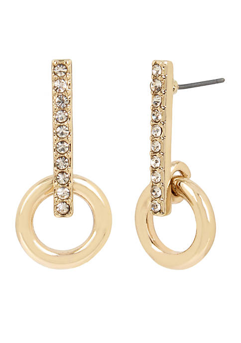 Kenneth Cole Gold and Crystal Stick Earrings with