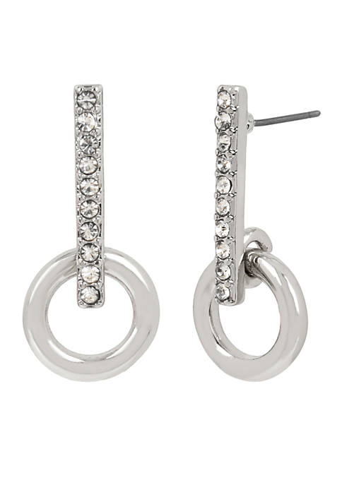 Kenneth Cole Silver and Crystal Stick Earring with