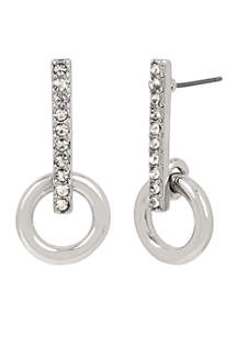 Silver and Crystal Stick Earring with Circle Drop