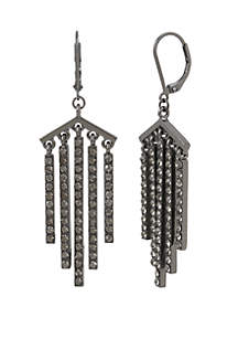 Stone Stick Fringe Drop Earrings