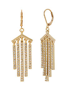 Stone Stick Fringe Drop Earrings