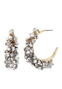 Crystal Faceted Bead Hoop Earrings