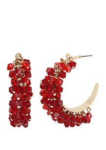 Crystal Faceted Bead Hoop Earrings