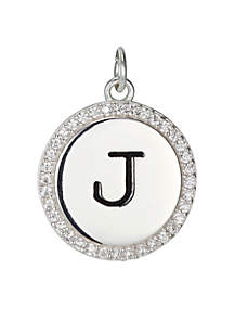 Belk Silverworks Southern Charm Round Cubic Zirconia Initial Letter Charm in Sterling Silver