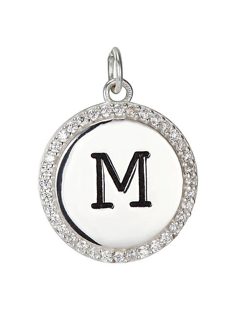 Southern Charm Round Cubic Zirconia Initial Letter Charm in Sterling Silver