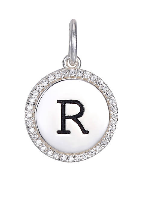 Belk Silverworks Round Cubic Zirconia Initial Letter Charm
