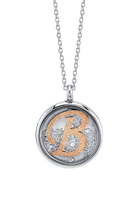 Stainless Steel 2 Tone Rose Initial Shaker Necklace