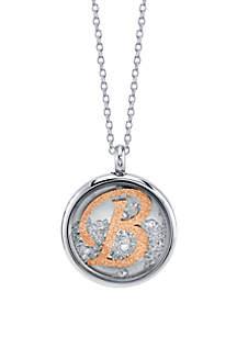 Belk Silverworks Stainless Steel 2-Tone Rose Initial Shaker Necklace