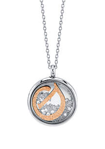 Stainless Steel 2-Tone Rose Initial Shaker Necklace